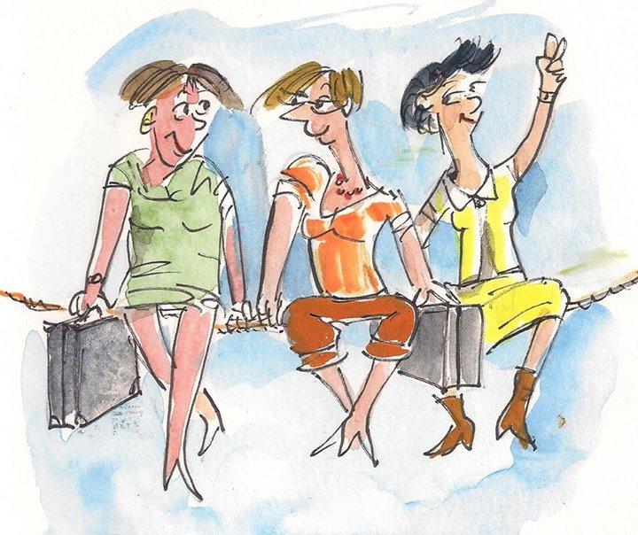 Netzwerken fuer Frauen. Drei Frauen sitzen auf einem Seil und quatschen miteinander.