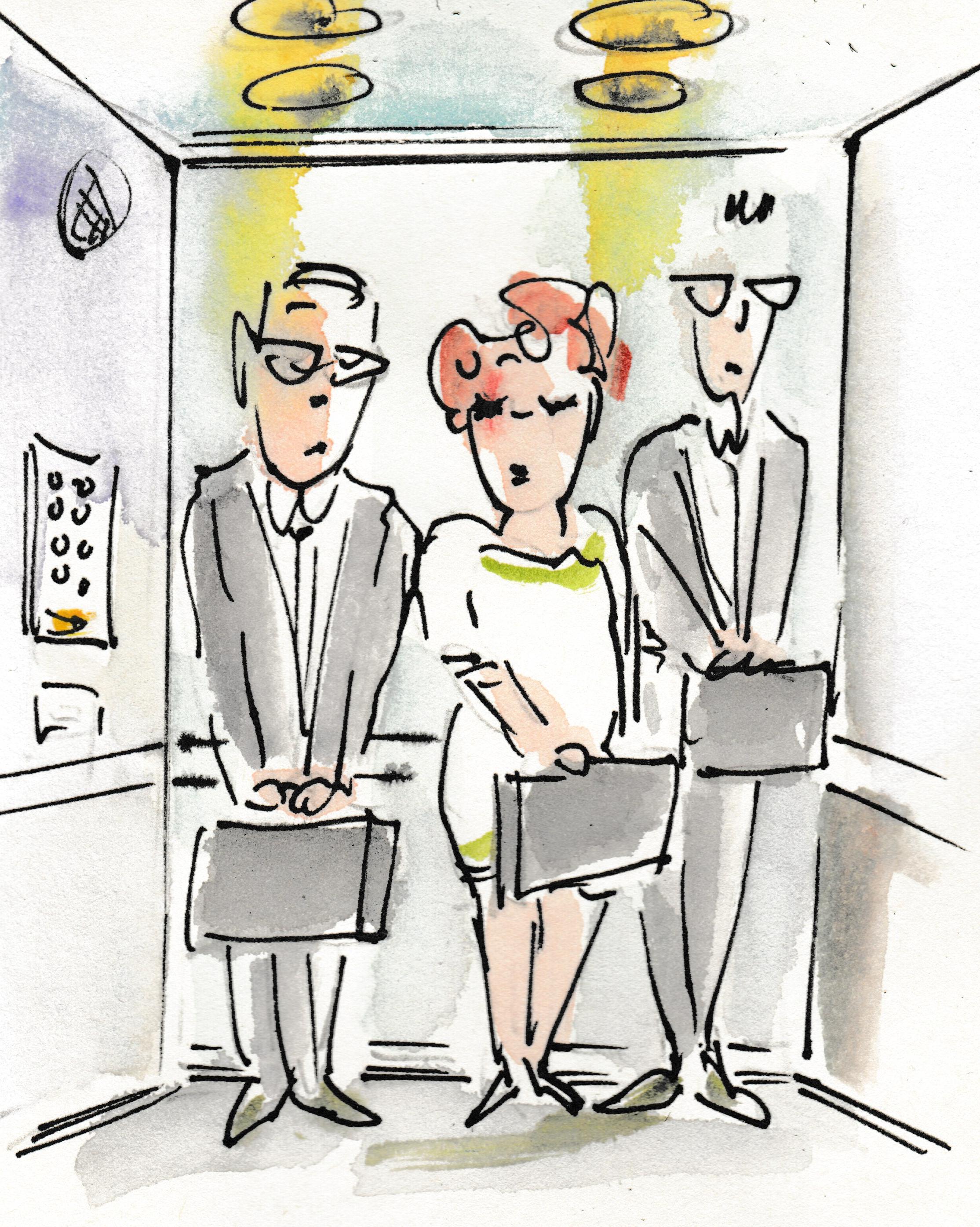 Menschen, die kein Gespräch im Aufzug führen – Zeichnung von Gerda Laufenberg.