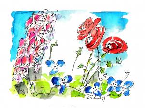 Fähigkeiten erkennen: Zeichnung mit Fingerhut, Rose und Veilchen