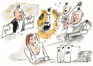 Eine Frau denkt negativ über ihre Vorgesetzten – Beförderung ist schwierig.