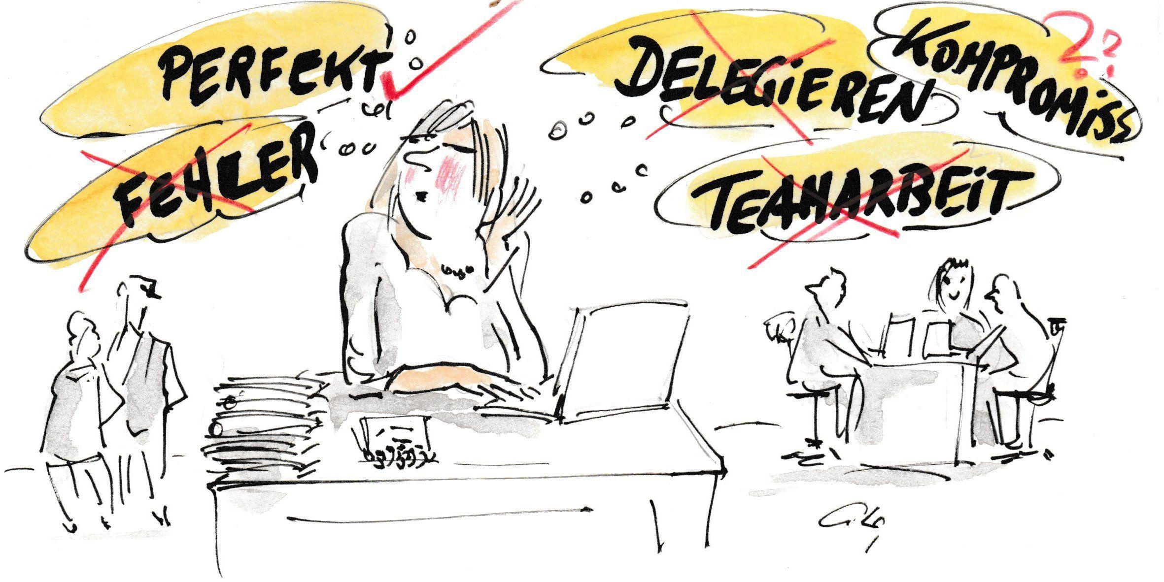 Einzelkämpferin sitzt alleine am Schreibtisch und denkt darüber nach, wie sie perfekt sein kann.