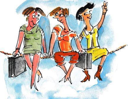 3 Frauen sitzen klüngelnd auf einem Seil