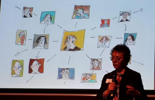 """Anni Hausladen hält einen Vortrag zum Thema """"Klüngeln"""" – im Hintergrund Zeichnungen von Gerda Laufenberg."""