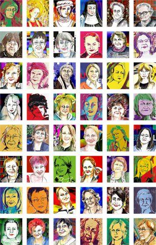 48 Kölner Frauenköpfe gemalt von Gerda Laufenberg
