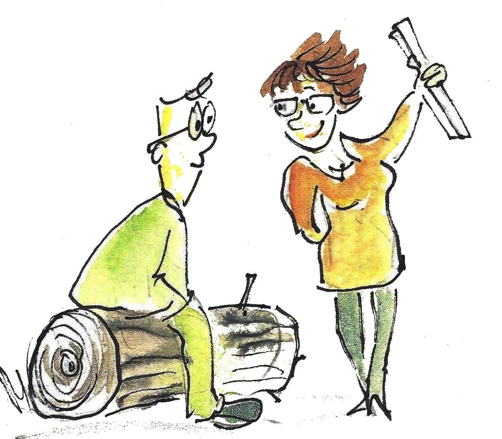 Frau zeigt einem Mann eine Papierrolle